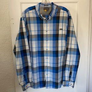 Eddie Bauer Blue Plaid Shirt Long Sleeve Men's TXL